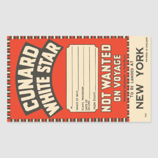 Cunard White Star (to New York) Rectangular Sticker
