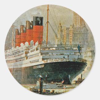 Cunarder at New York Classic Round Sticker