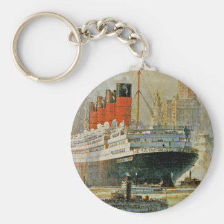 Cunarder at New York Keychain