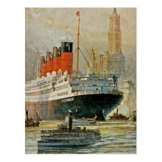 Cunarder at New York Postcard