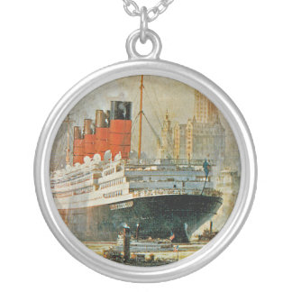 Cunarder at New York Round Pendant Necklace