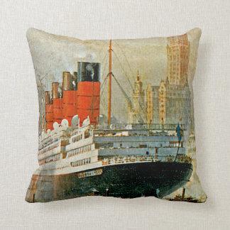Cunarder at New York Throw Pillow