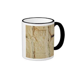 Cuneiform script on a palace wall mug