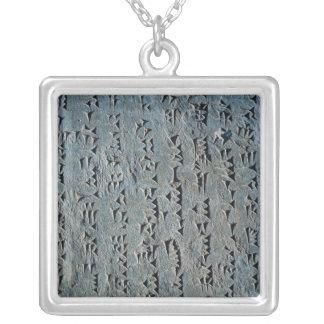 Cuneiform script square pendant necklace