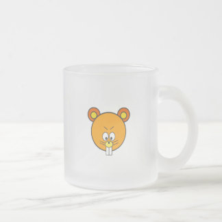 Cunning orange squirrel face frosted glass coffee mug