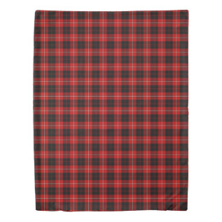 Cunningham Clan Bright Red and Black Tartan Duvet Cover at Zazzle