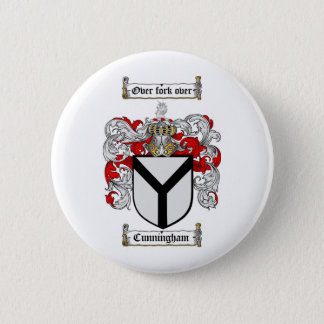 CUNNINGHAM FAMILY CREST -  CUNNINGHAM COAT OF ARMS PINBACK BUTTON