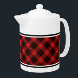 """Cunningham Family Tartan Red and Black Plaid Teapot<br><div class=""""desc"""">Teapot with the Cunningham family clan tartan pattern. Traditional vintage Scottish plaid 1842 in red,  black and white. Choose from two sizes. Matching mugs and teacups available.</div>"""