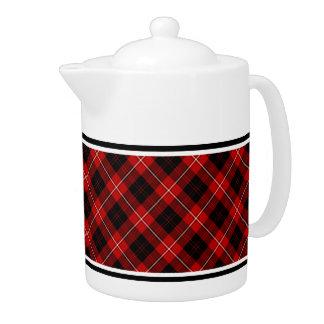 Cunningham Family Tartan Red and Black Plaid Teapot