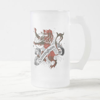 Cunningham Tartan Lion Frosted Glass Beer Mug