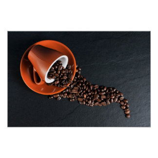 Cup and coffee beans artistic composition poster