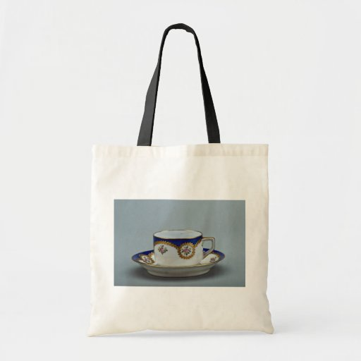 Cup and saucer with colorful designs budget tote bag