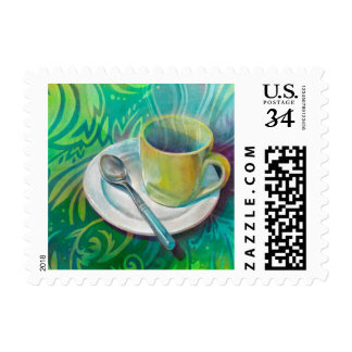 Cup and Spoon against a Cool Analogous Background Postage