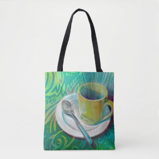Cup and Spoon against a Cool Analogous Background Tote Bag