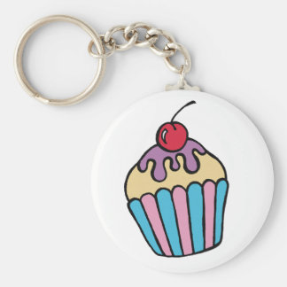 Cup Cake Key Ring Basic Round Button Keychain