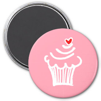 Cup cake love 3 inch round magnet