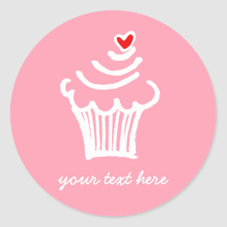 Cup cake love classic round sticker