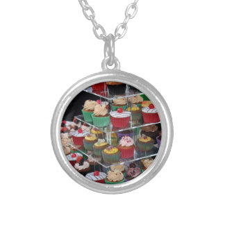 Cup cakes silver plated necklace