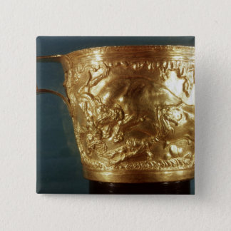 Cup, depicting a charging bull button