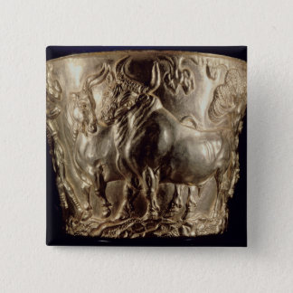 Cup, depicting a domestic bull pinback button
