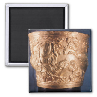 Cup, depicting the capture of a wild bull 2 inch square magnet
