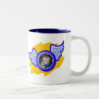 Cup for boys with angel wing frame