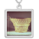 Cup found in a tholos tomb at Peristeria Square Pendant Necklace
