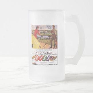 Cup-Frosted Mug-Vintage Gum Advertisement Frosted Glass Beer Mug