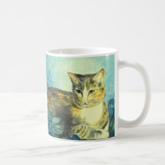 """Cup kind of water color """"cat with blue Hortensien  Classic White Coffee Mug"""