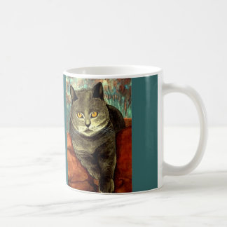 """Cup kind of water color """"grey cat on red cushion """" classic white coffee mug"""