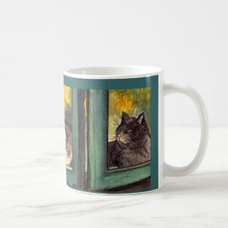 """Cup kind of water color """"two cats at the window """" classic white coffee mug"""