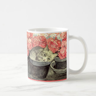 """Cup motive for water color """"kitten in the flower p classic white coffee mug"""