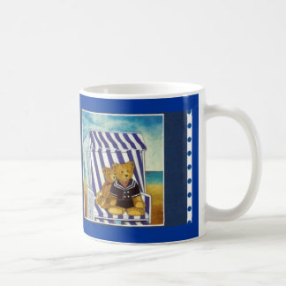"""Cup motive for water color of """"teddy in the beach  classic white coffee mug"""
