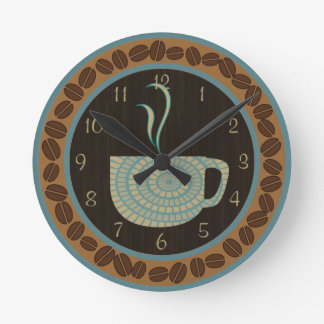 Cup O Coffee Brown and Teal Round Wall Clocks