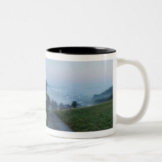 Cup of autumn mornings in the low mountain range,