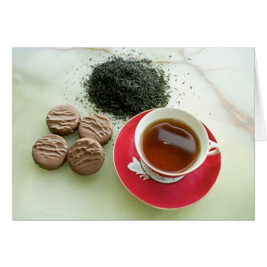 Cup of black tea with chocolate biscuits card
