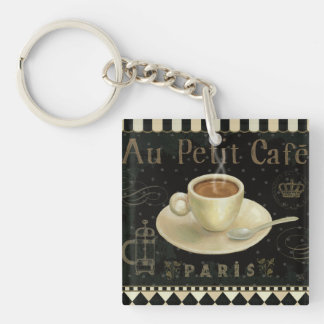Cup of Cappuccino Double-Sided Square Acrylic Keychain