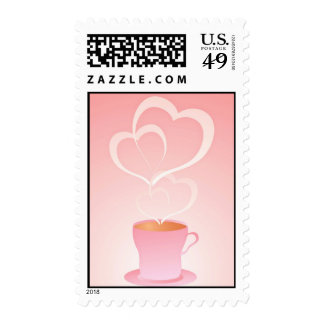 Cup of Choco Hearts Postage Stamp