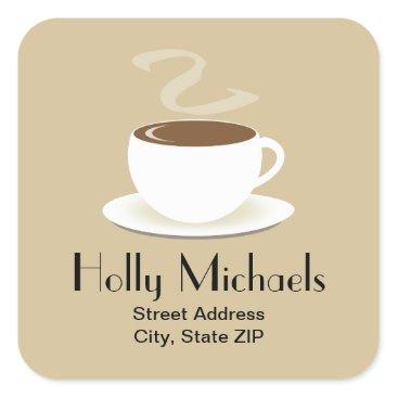 Coffee Themed Cup Of Coffee Address Sticker