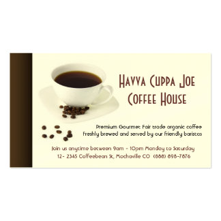 Cup of Coffee  and Coffee beans Heart Business Card Template