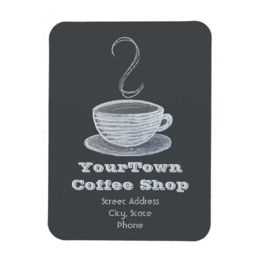 Cup Of Coffee Chalkboard Drawing Business Magnet | Zazzle