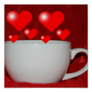 Cup Of Coffee Heart Print