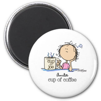 Cup of Coffee - Lady 2 Inch Round Magnet