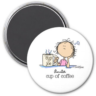 Cup of Coffee - Lady 3 Inch Round Magnet
