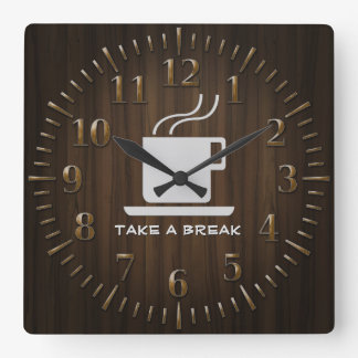 Cup of Coffee - Take a Break Square Wall Clock