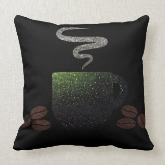 Cup of Coffee with Beans Throw Pillow