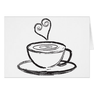 Cup of Coffee with Love Abstract Illustration Card