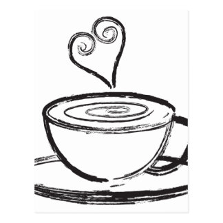 Cup of Coffee with Love Abstract Illustration Postcard