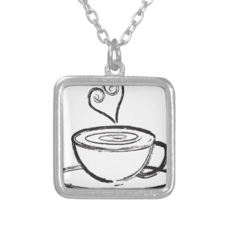 Cup of Coffee with Love Abstract Illustration Silver Plated Necklace