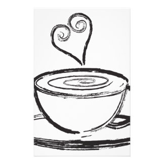 Cup of Coffee with Love Abstract Illustration Stationery